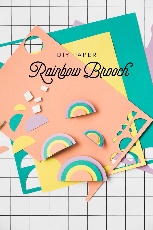 DIY PAPER RAINBOW BROOCH