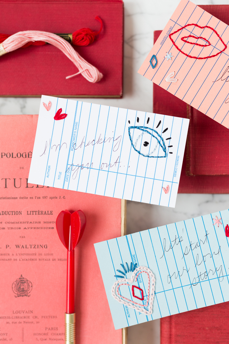 Embroidered Library Card Valentines