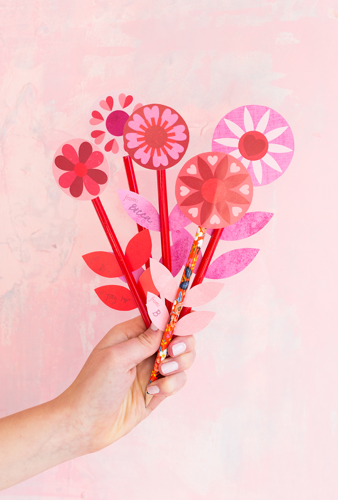 Printable floral pencil Valentines