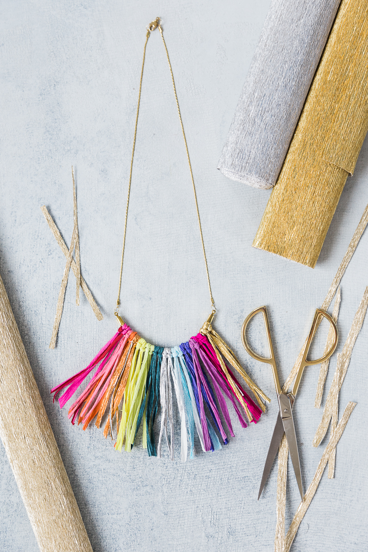 Crepe Paper fringe necklace