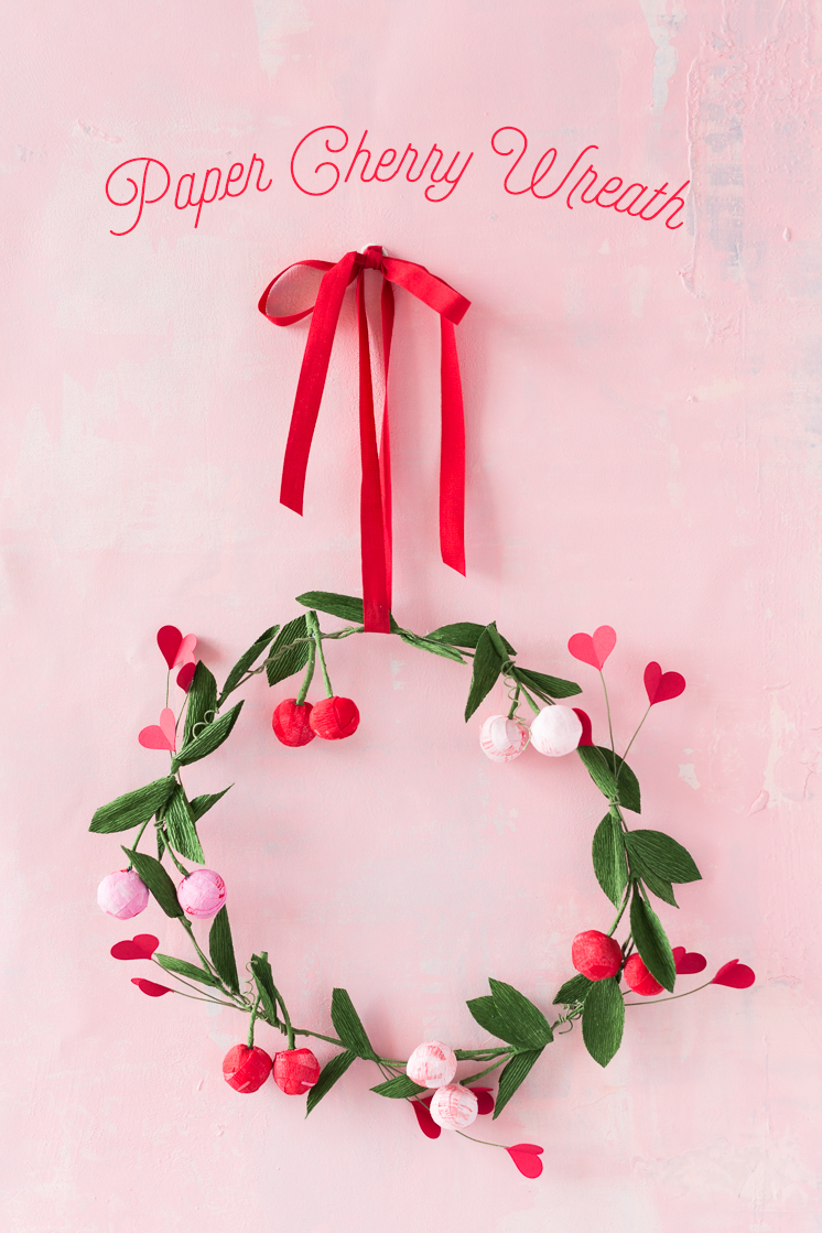 Paper cherry wreath tutorial