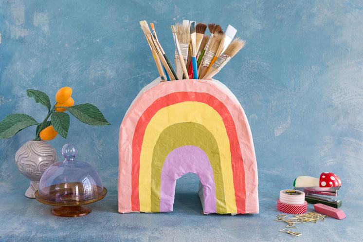 Paper Mâché Rainbow Vase
