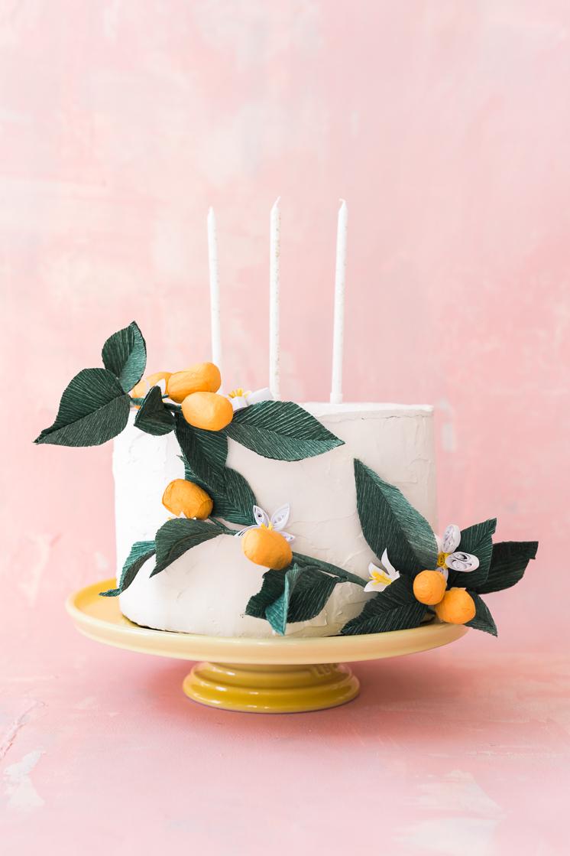 Paper Kumquat and Quilled Flower Cake