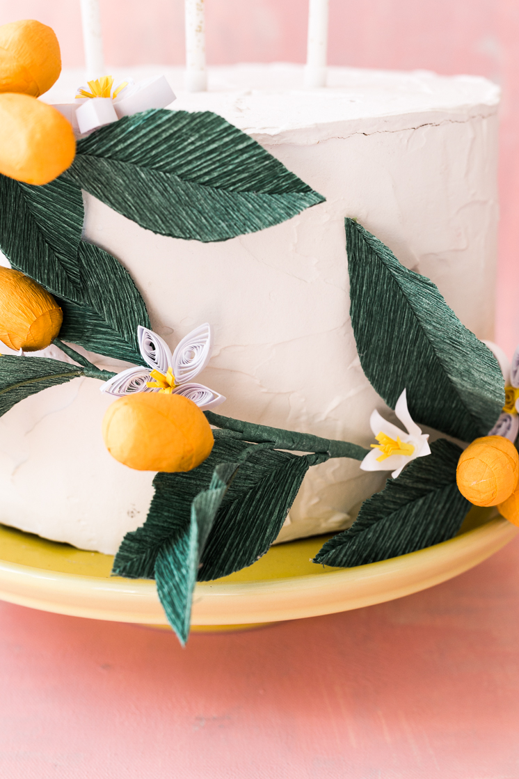 Paper Kumquat and Quilled Flower Cake
