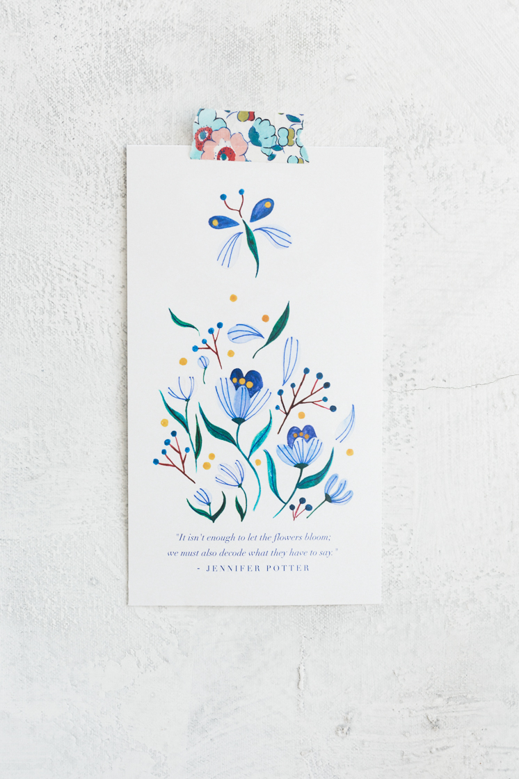 Seven Flowers Printable Bookmark