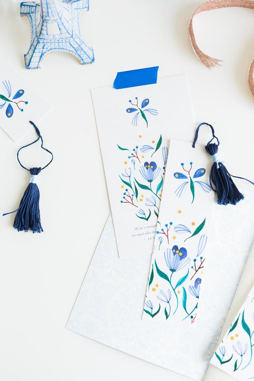 Seven Flowers Printable Bookmark