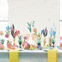 Origami chick Easter tablescape