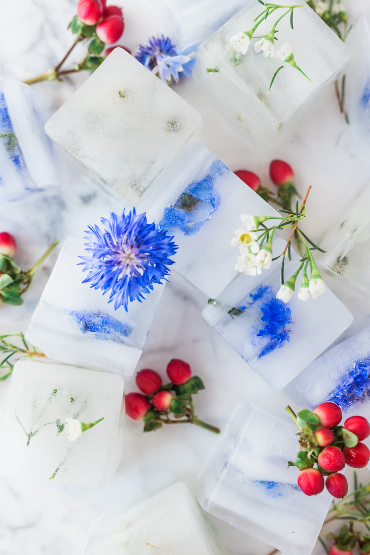 DIY Floral Ice Cubes for the Fourth