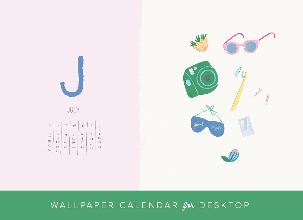 JUly 2017 desktop wallpaper and calendar