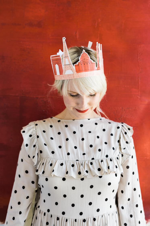 Printable Paris crown and invitation