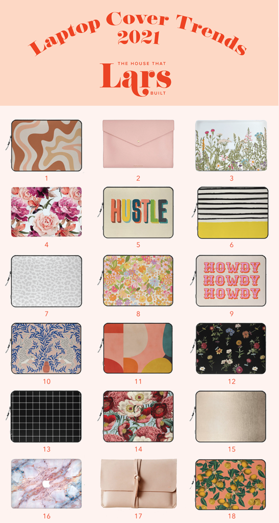 A graphic of 18 laptop covers on a blush pink background.