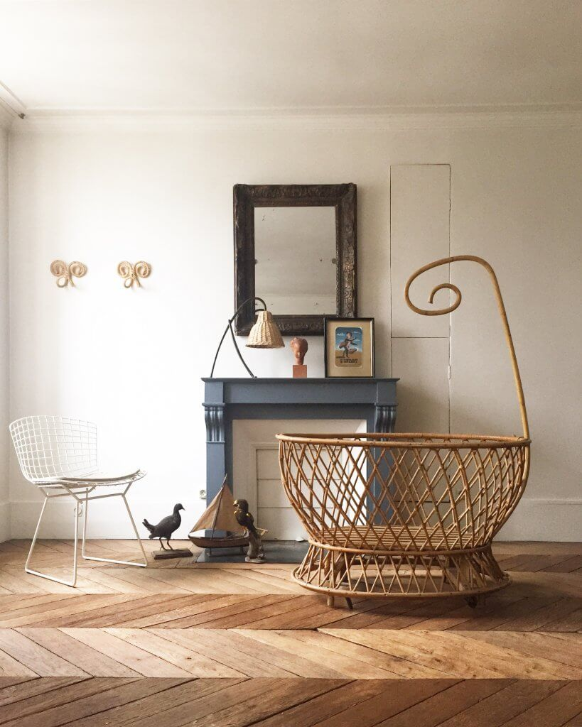 French rattan crib