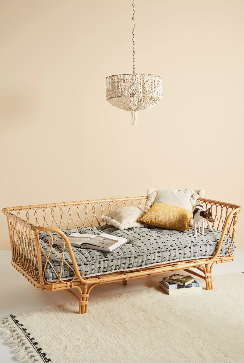 Rattan day bed in a light-filled beige room. A dog, some pillows, and a few magazines and books are on the day bed.