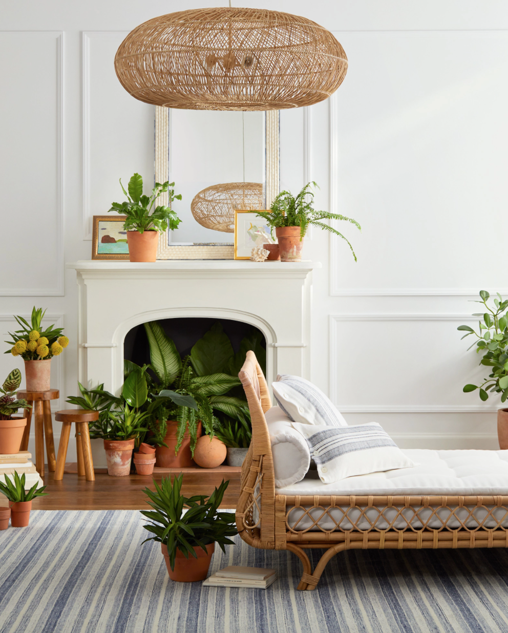 A rattan day bed in an airy room full of plants in terracotta planters