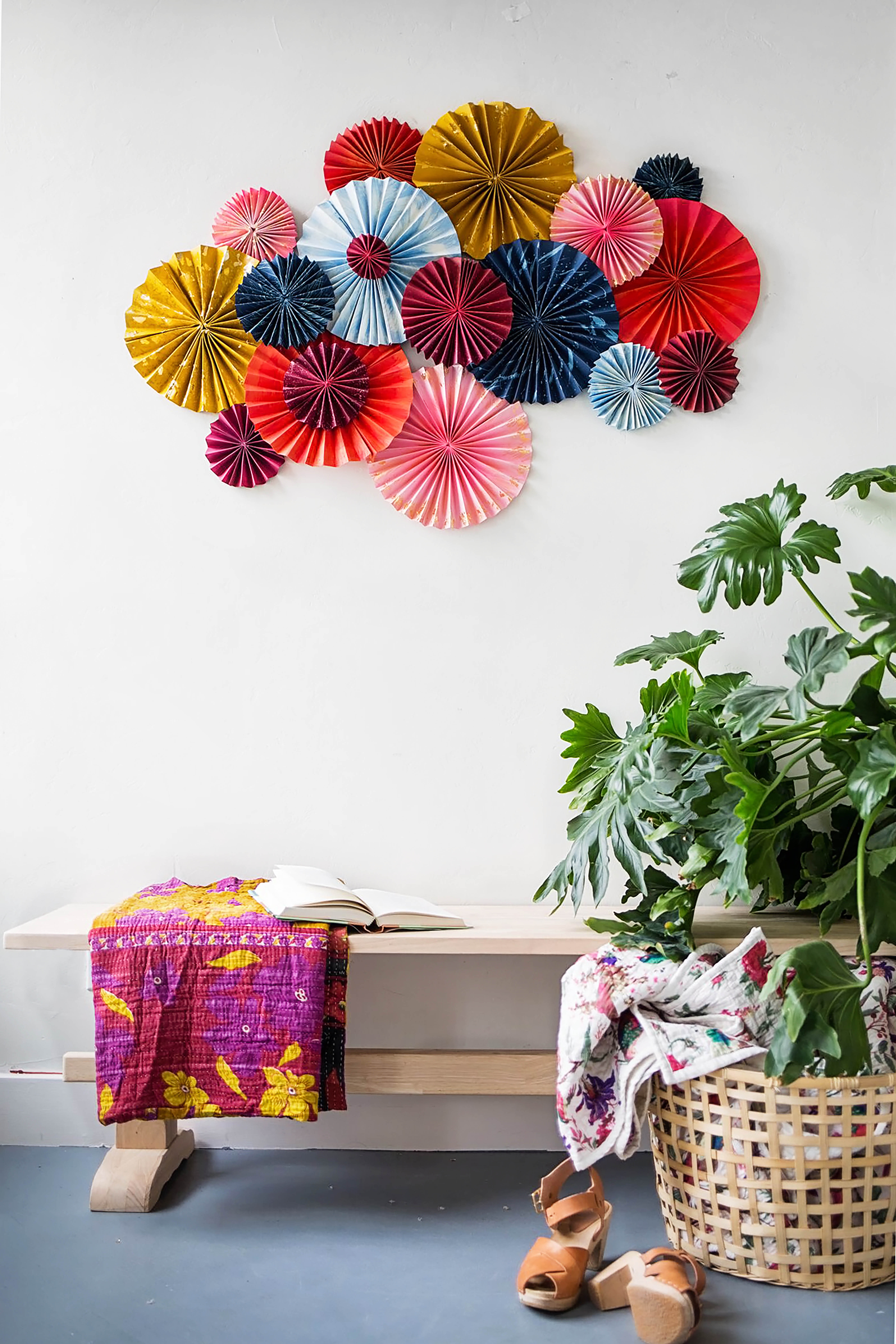 DIY layered paper fan wall decoration