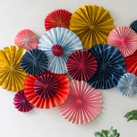 DIY layered paper fan wall decoration