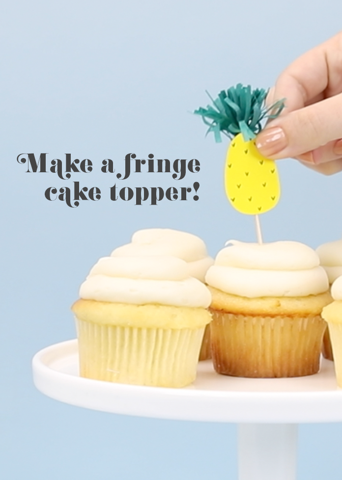 Pineapple fringe cupcake topper