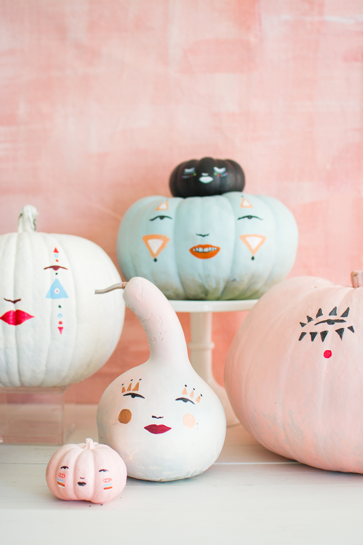 DIY Pastel Pumpkin Faces With a Template