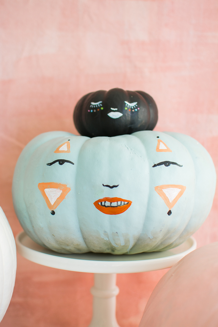 Painted pastel pumpkin people