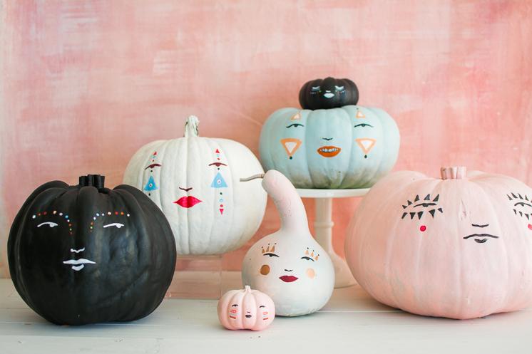 Painted pastel pumpkin people