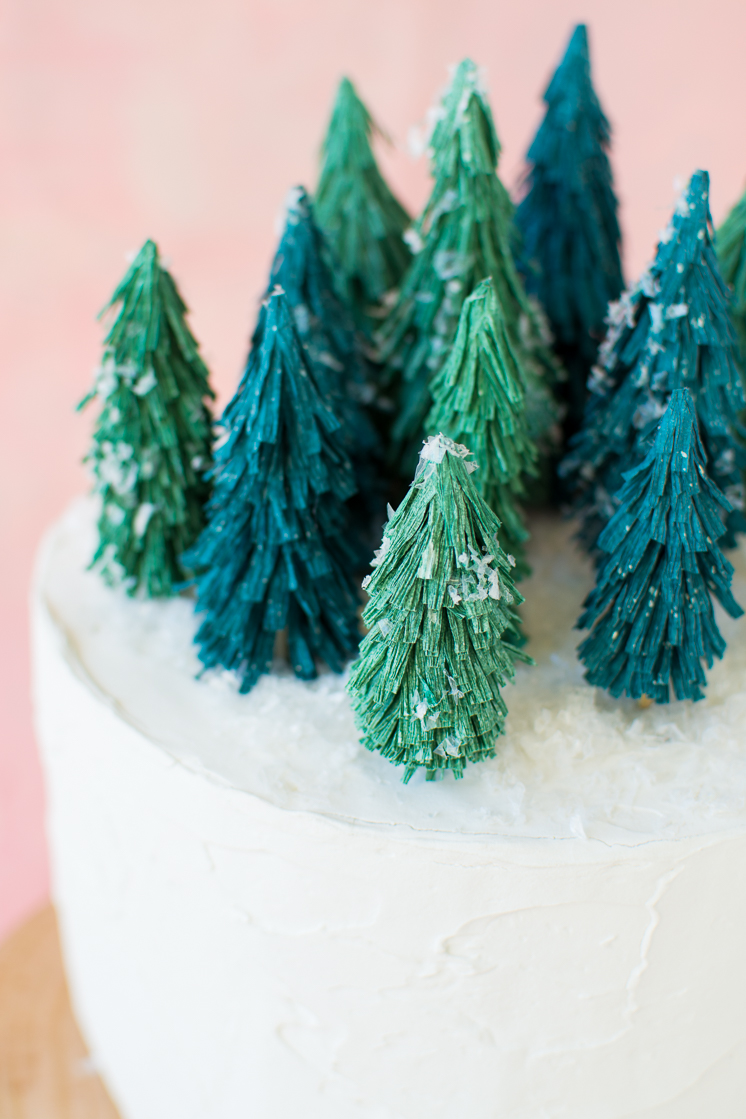 Crepe Paper Christmas Tree Cake Topper