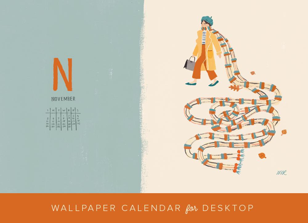 November 2017 desktop calendar