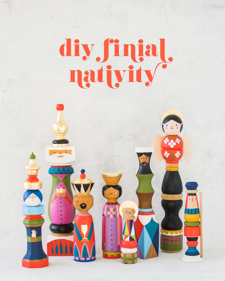DIY wood finial Mid Century modern nativity
