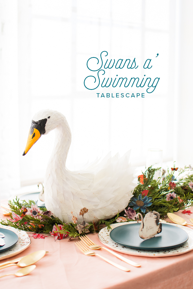Swans a swimming tablescape