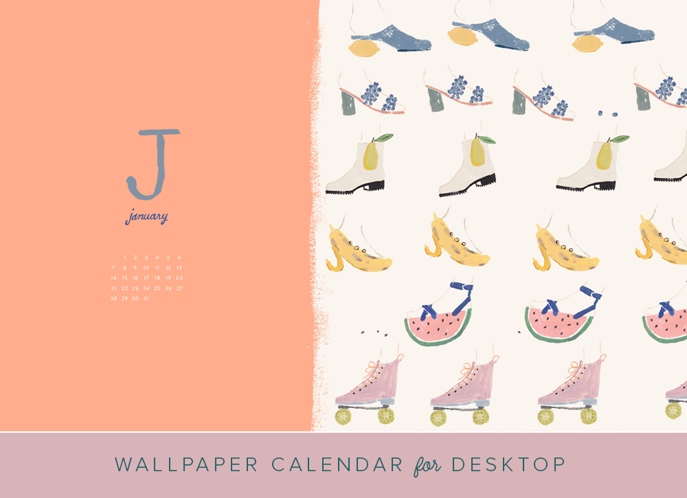 January 2018 desktop calendar