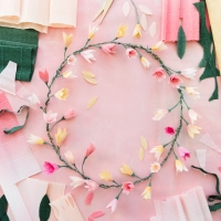 Pink Paper Blossom Wreath