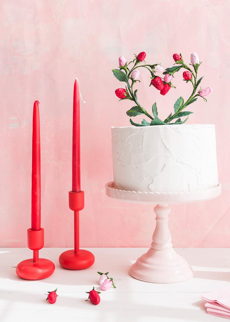Strawberry Heart Cake Topper