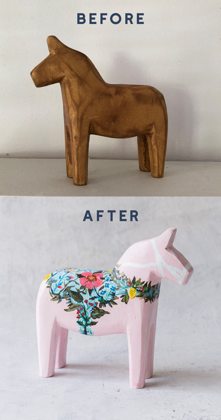 DIY Dala horse before and after