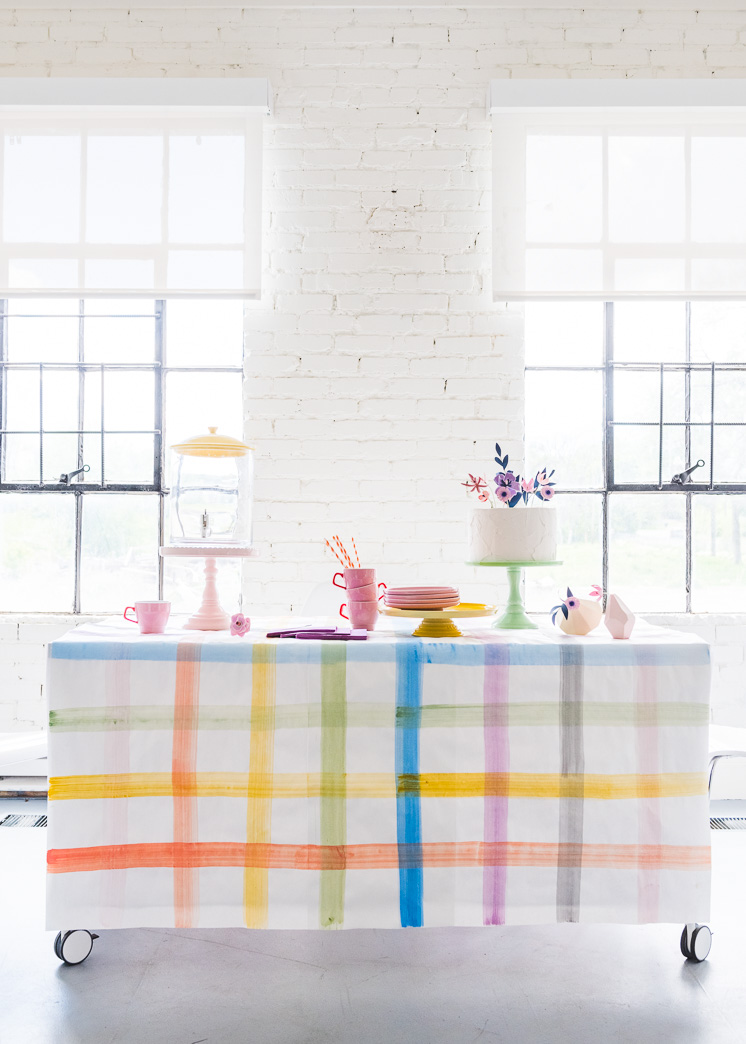 Painted Plaid Paper Tablecloth