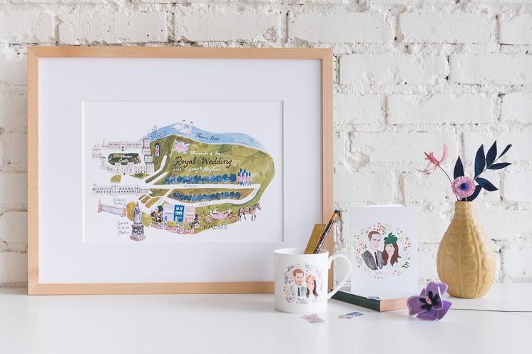 Royal wedding commemorative processional map art print