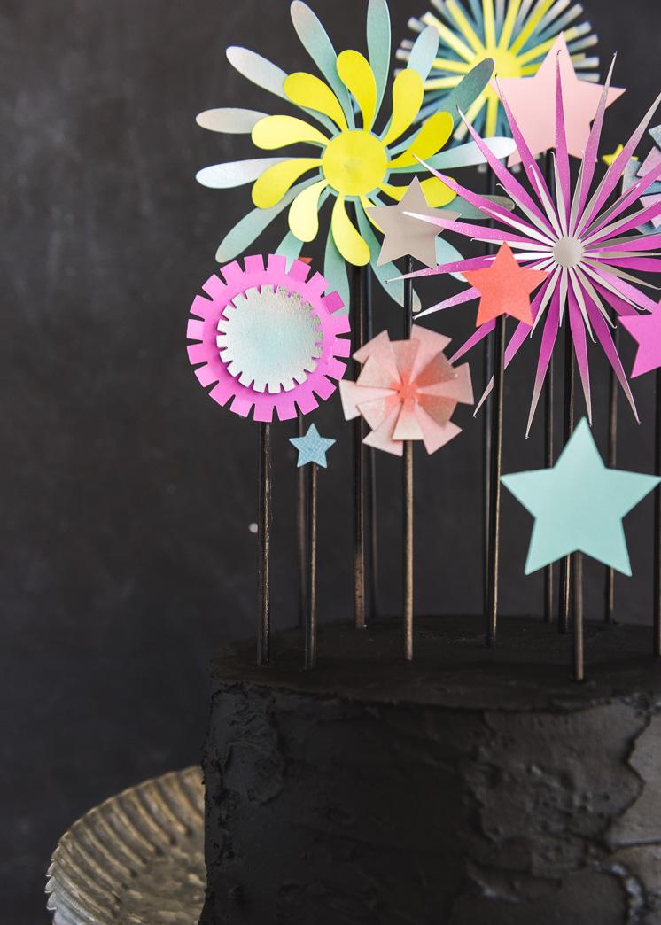 Paper Firework Cake Topper