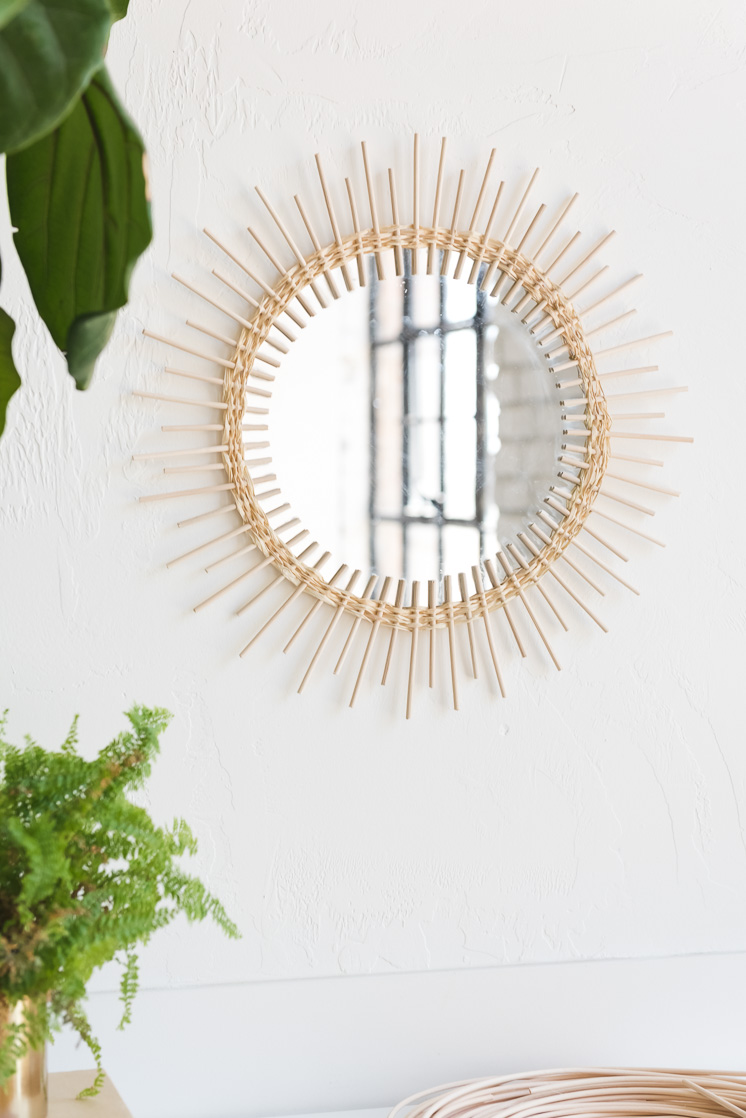 DIY Rattan Sunburst Mirror