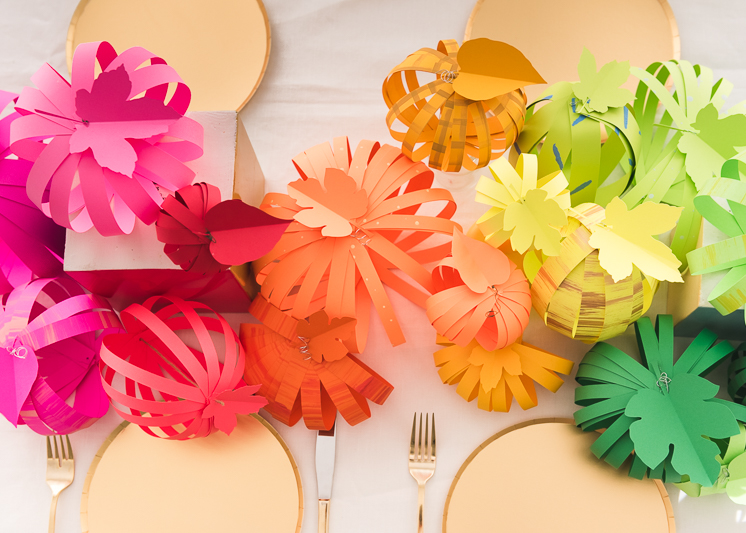 Rainbow Paper Pumpkin Tablescape