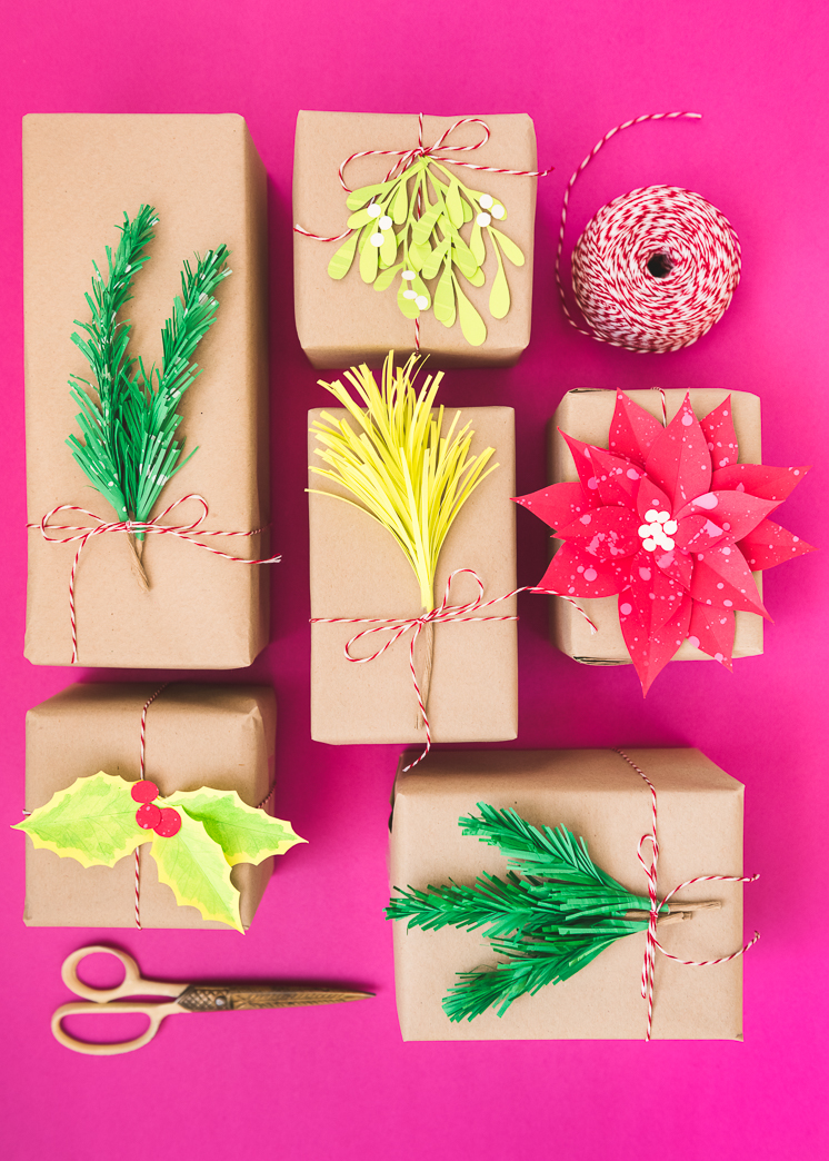 Paper Holiday Greenery Gift Toppers