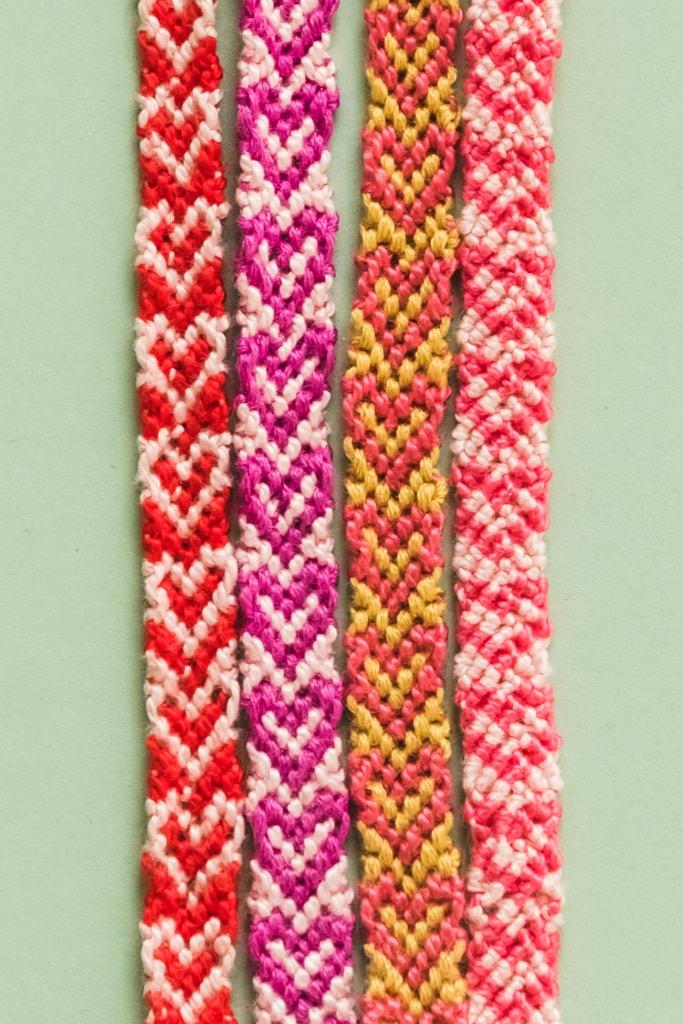 Friendship bracelets with hearts.