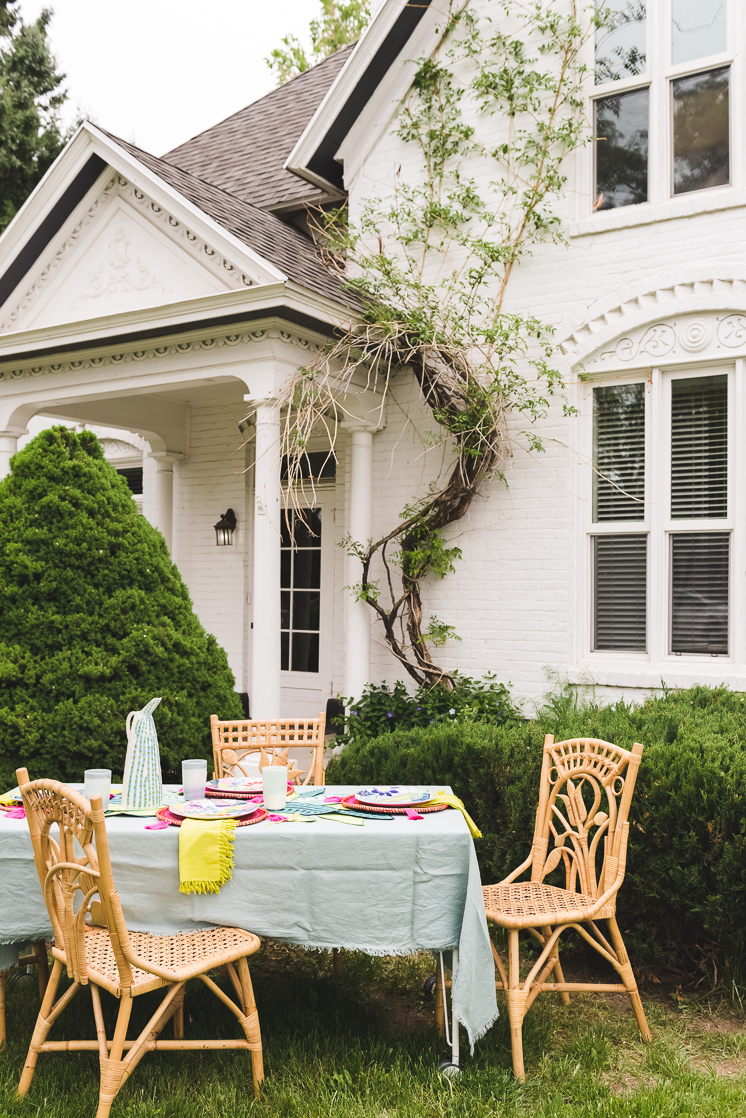 House during summer with an outdoor table set