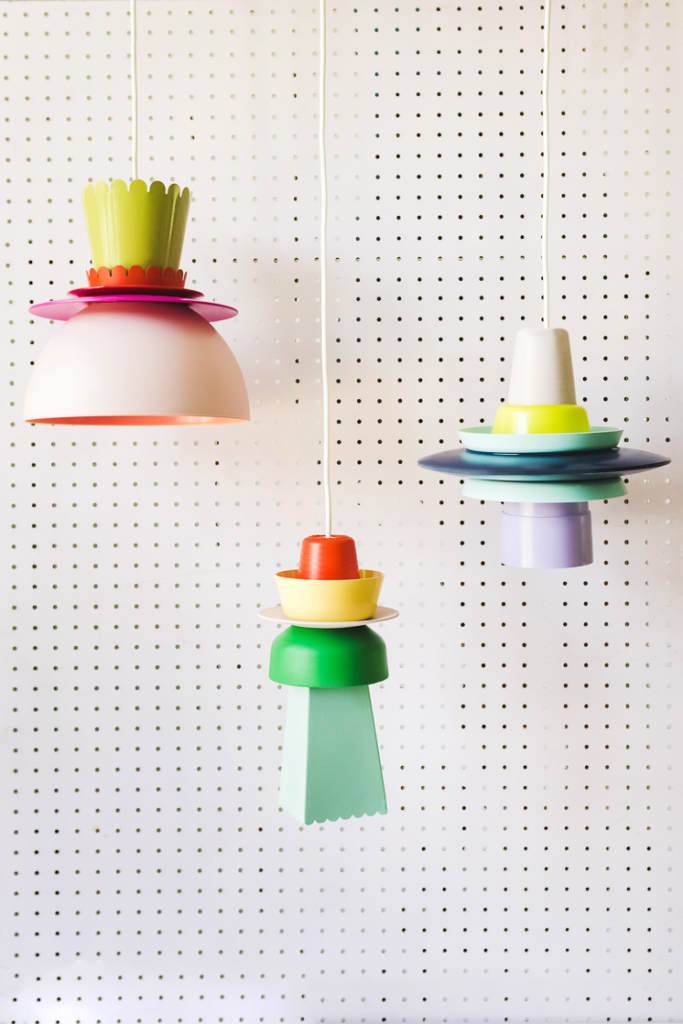 DIY lampshade in bright colors and funky shapes