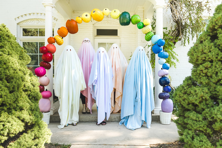 DIY Rainbow Ghosts Team Costume
