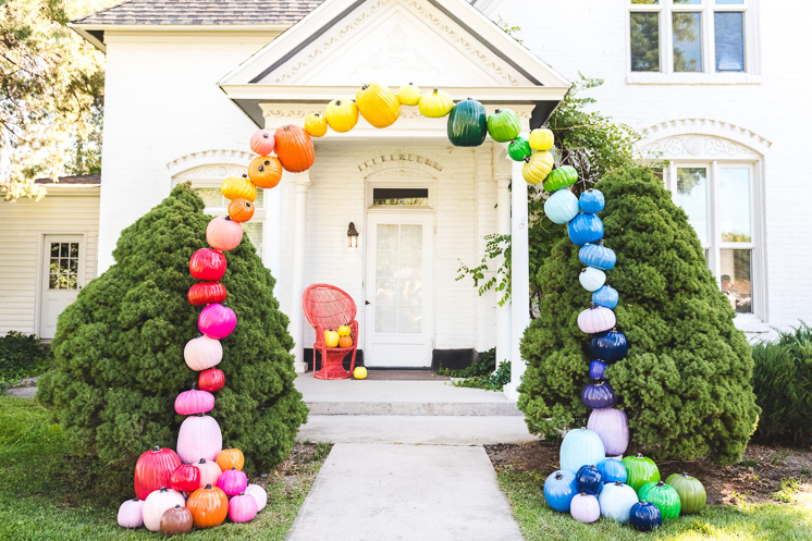 DIY Rainbow Pumpkin Arch