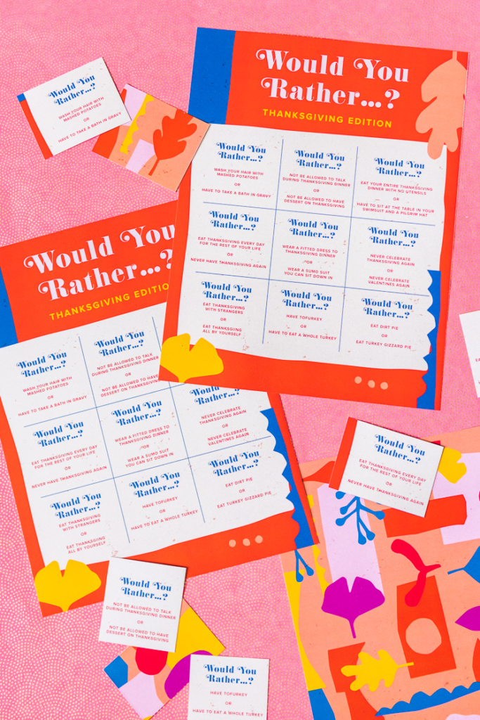 Would you rather printable games on a pink background.