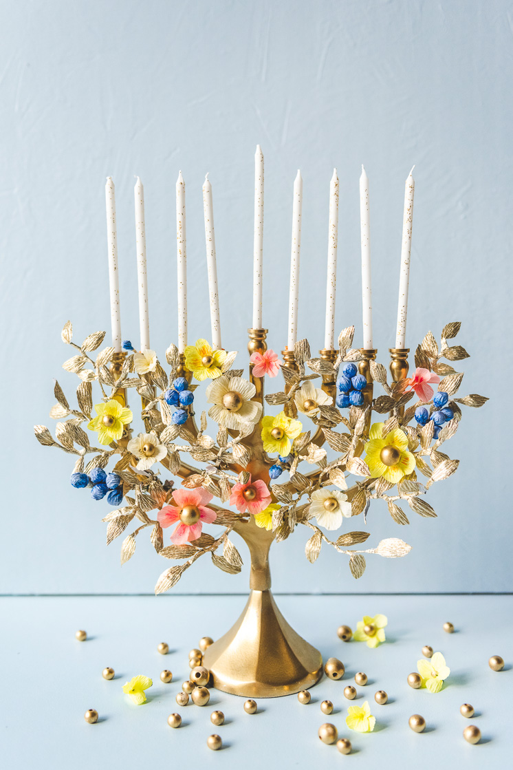 DIY paper flower menorah