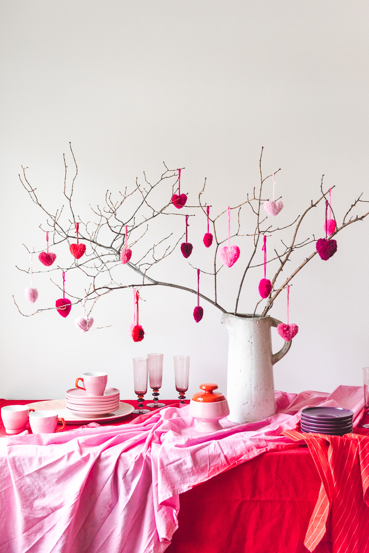 DIY Valentines Heart Pom-Poms
