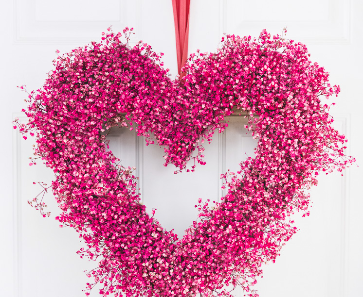 Valentines Baby's Breath Heart Wreath