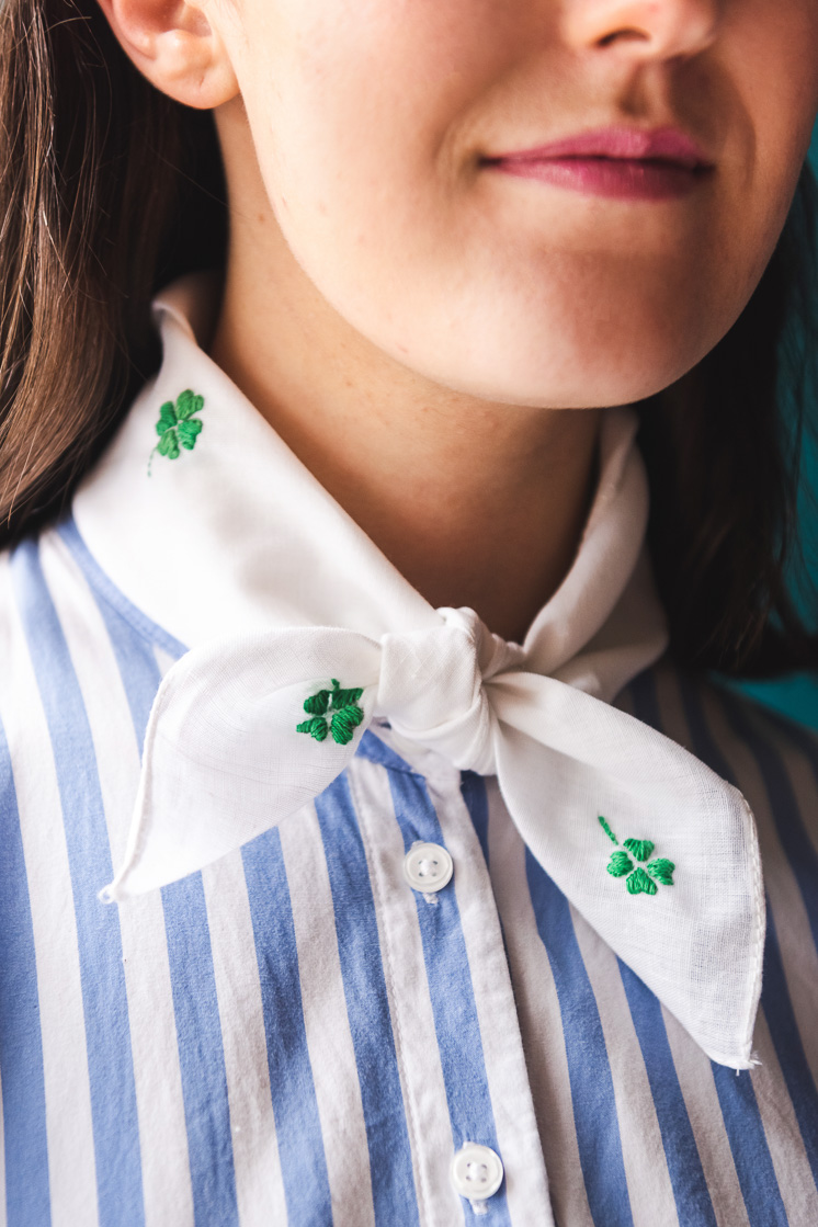 DIY Embroidered Shamrock Handkercheif