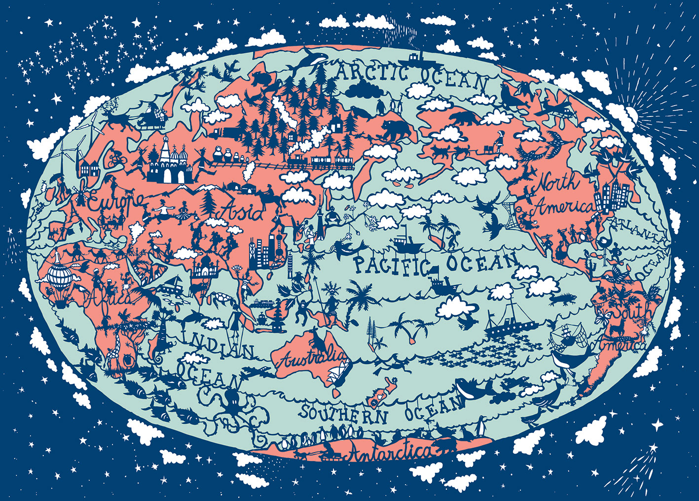 Papercut world map by Julie Summerbelle