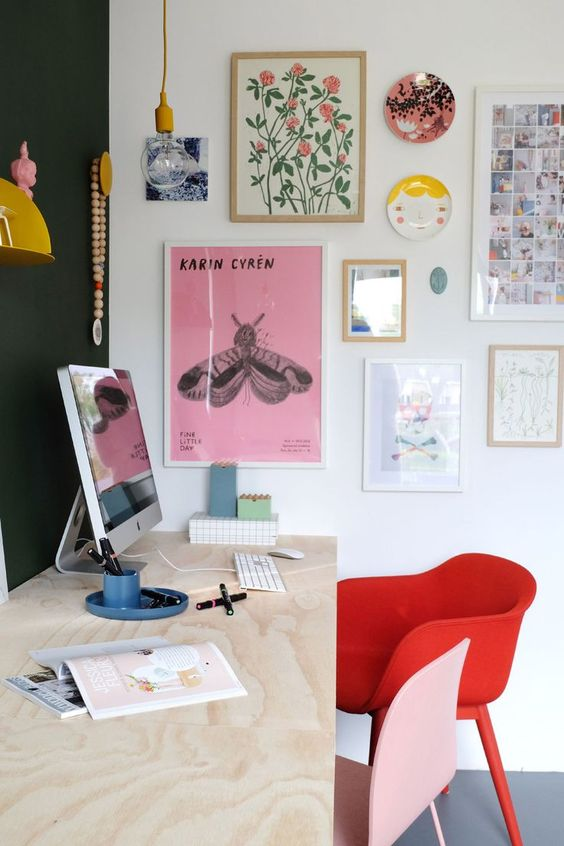 a colorful and minimal home office
